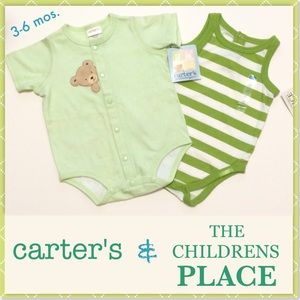 🆕CARTER'S & The CHILDREN'S Place Onesies, 2pc NWT